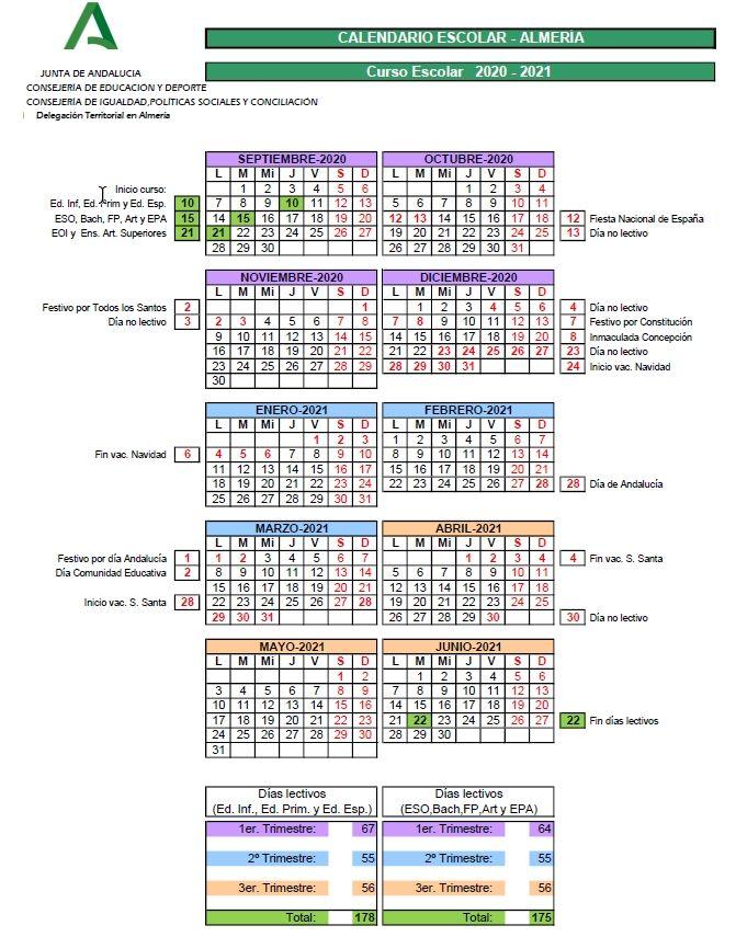 Calendario escolar 20_21 Almería