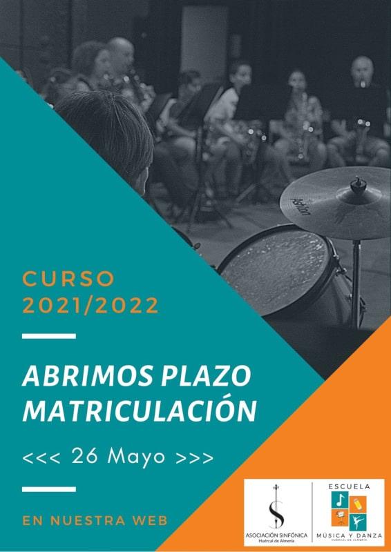 Plazo matrícula Curso Escolar 2021/2022
